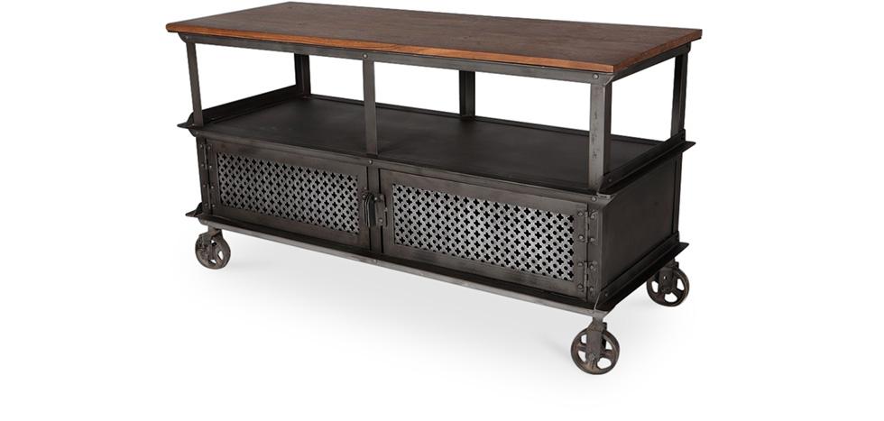 Mueble De Televisi N Con Ruedas Estilo Industrial